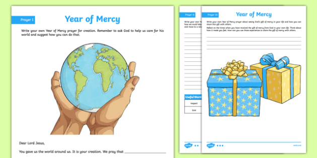 Year of Mercy Prayer Activity Sheet, worksheet