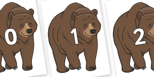 Numbers 0-100 on Bear - 0-100, foundation stage numeracy, Number recognition, Number flashcards, counting, number frieze, Display numbers, number posters