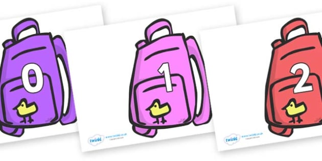 Numbers 0-50 on Backpacks - 0-50, foundation stage numeracy, Number recognition, Number flashcards, counting, number frieze, Display numbers, number posters