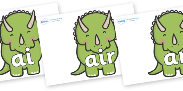 Phase 3 Phonemes on Triceratops Dinosaurs - Phonemes, phoneme, Phase 3, Phase three, Foundation, Literacy, Letters and Sounds, DfES, display