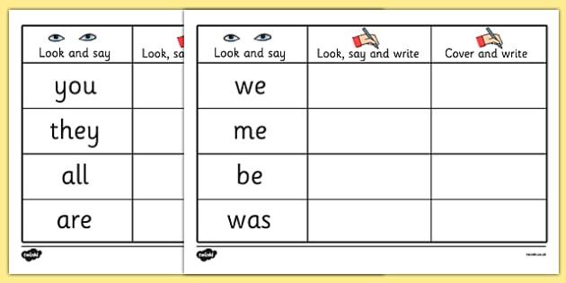 Tricky Words on Writing Practice Worksheets - trick, worksheet