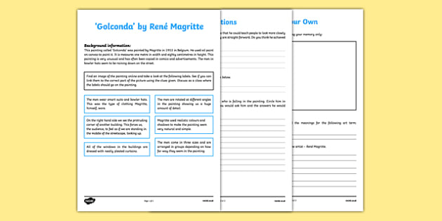 Golconda by Magritte Art Appreciation Activity Sheet - irish, gaeilge, Golconda, Magritte, art, activity sheet, worksheet