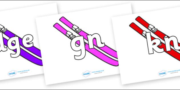 Silent Letters on Skis - Silent Letters, silent letter, letter blend, consonant, consonants, digraph, trigraph, A-Z letters, literacy, alphabet, letters, alternative sounds