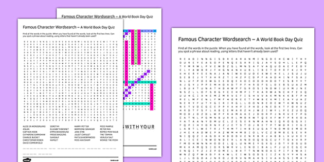 Famous Characters Word Search - World Book Day, Puzzles, Games, Reading, Authors, Characters, International Children's Book Day