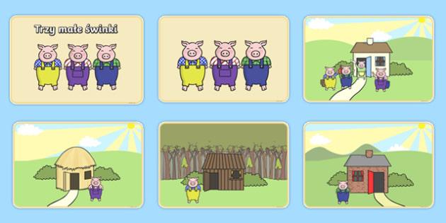 Plansze do porządkowania Trzy małe świnki po polsku