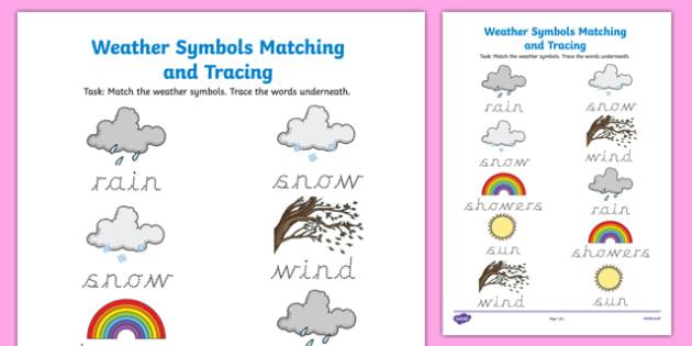 Weather Symbols Matching and Tracing Activity Sheet-Irish, worksheet