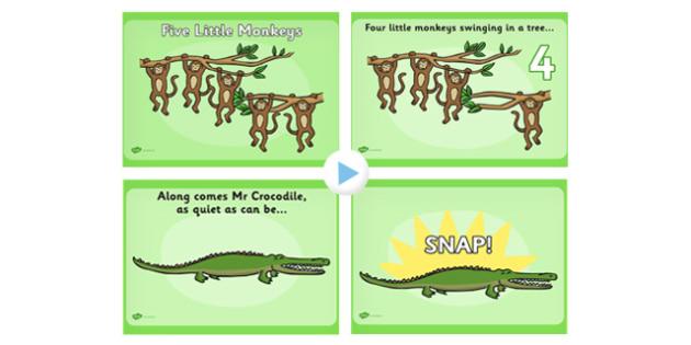 Five Little Monkeys Nursery Rhyme PowerPoint - rhymes, songs