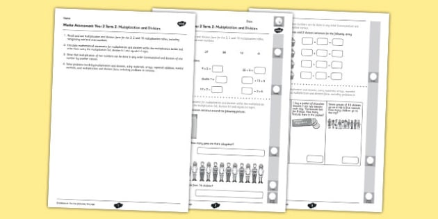 Year 2 Maths Assessment Number Multiplication and Division Term 2 - year 2, maths, assessment, number, multiplication, division, term 2