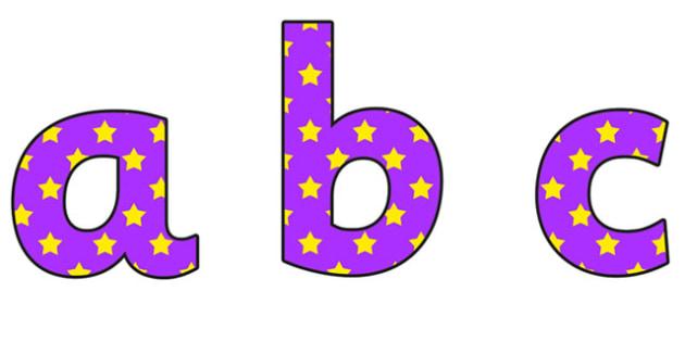 Purple and Yellow Stars Lowercase Display Lettering - stars display lettering, lowercase display lettering, display lettering, stars