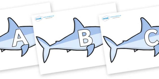 A-Z Alphabet on Sharks - A-Z, A4, display, Alphabet frieze, Display letters, Letter posters, A-Z letters, Alphabet flashcards