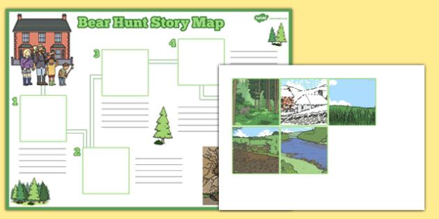 Bear Hunt Story Map Activity Sheet Pack - bear hunt, story, map, activity, worksheet