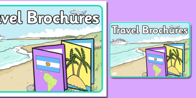 Travel Brochures Role Play Sign - travel brochures, role-play, sign, display, travel, brochures