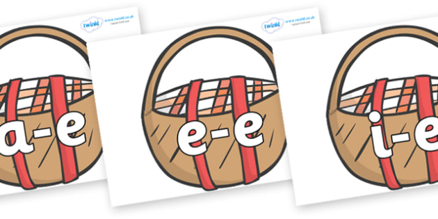 Modifying E Letters on Picnic Baskets to Support Teaching on The Lighthouse Keeper's Lunch - Modifying E, letters, modify, Phase 5, Phase five, alternative spellings for phonemes, DfES letters and Sounds