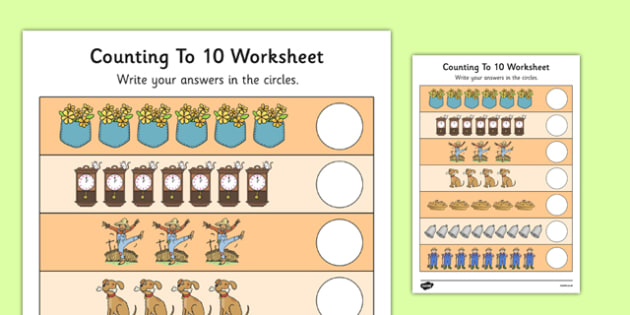 Nursery Rhyme Themed Counting to 10 Worksheet - nursery rhyme, themed, counting, to 10, worksheet