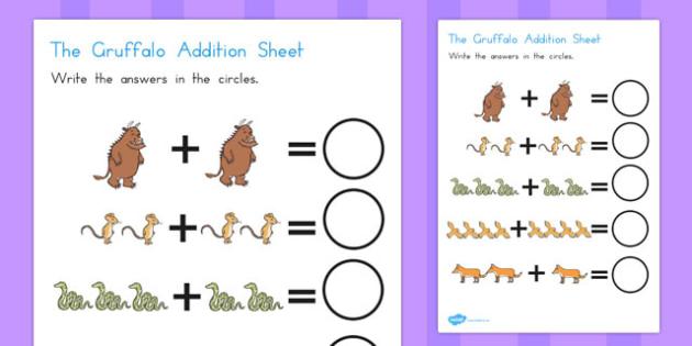 The Gruffalo Addition Sheet - australia, gruffalo, addition