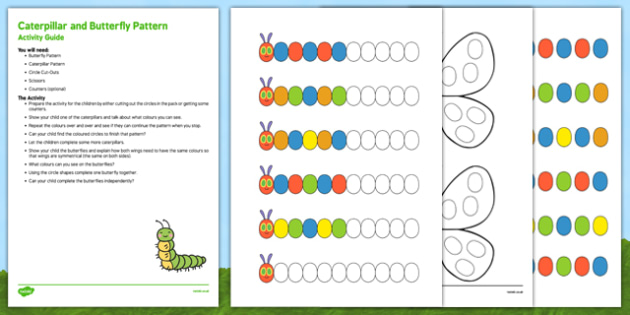 Caterpillar and Butterfly Pattern Busy Bag Resource Pack for Parents - egg, caterpillar, chrysalis, butterfly, EYFS
