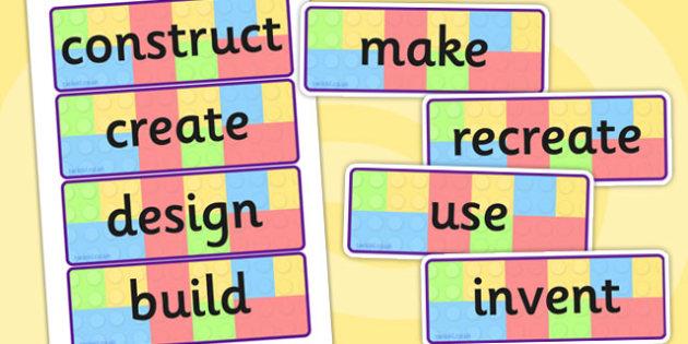 Building Brick Challenge Instruction Word Display Cards - vocab