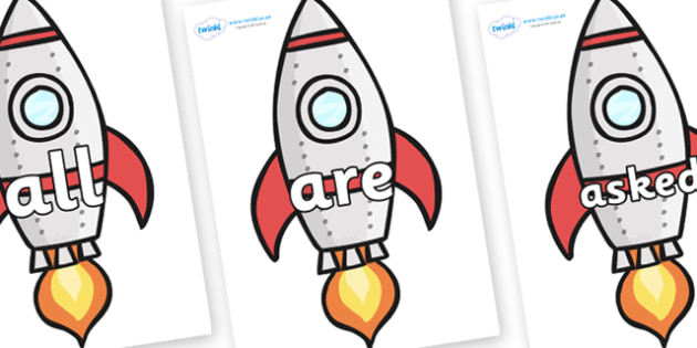 Tricky Words on Rockets (Plain) - Tricky words, DfES Letters and Sounds, Letters and sounds, display, words