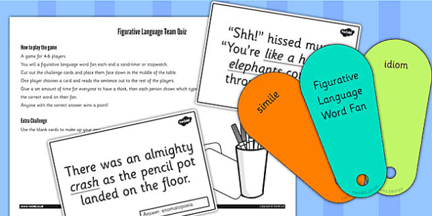 Discuss and Evaluate how Authors use Figurative Language Game Cards