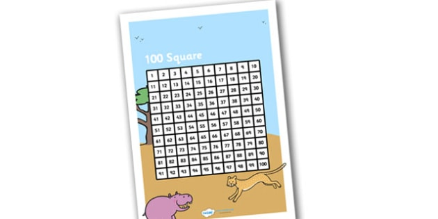 Safari Themed 100 Number Square - safari number square, safari 100 number square, safari 100 square, number square, themed number square, counting aid, 100