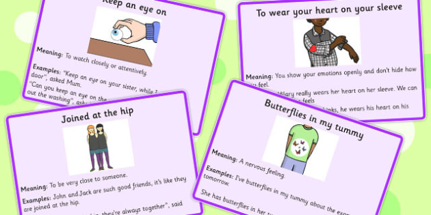 Body Idioms Meaning Cards - definition, bodies, visual, aid