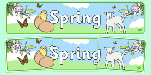Spring Display Banner - Spring, Display banner, poster, display, lambs, daffodils, new life, flowers, buds, plants, growth