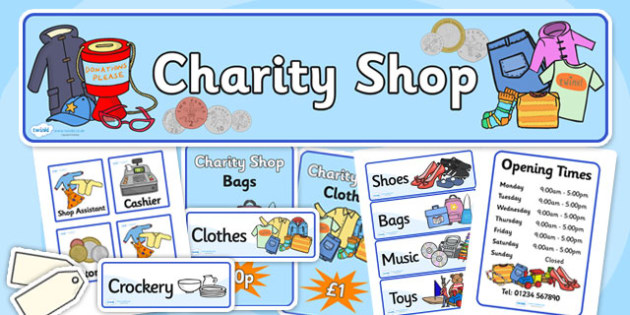 Charity Shops Role Play Pack - charity shop, charity shop role play, charity shop pack, shop role play, charity shop role play corner set up, charity