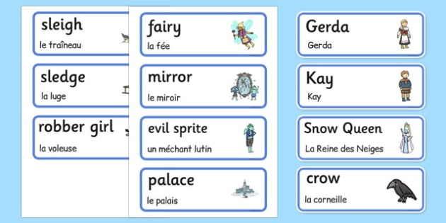 The Snow Queen Word Cards French Translation - EAL, translated, bilingual,
