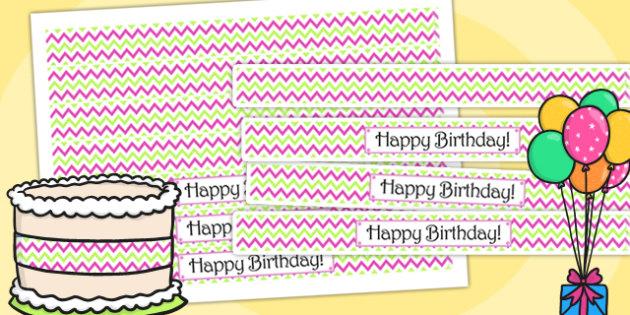 Zig Zag Birthday Party Cake Ribbon Pink And Green - birthdays