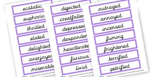 Feeling Description Cards - My Emotions Primary Resources, emotion, feeling, happy, sad
