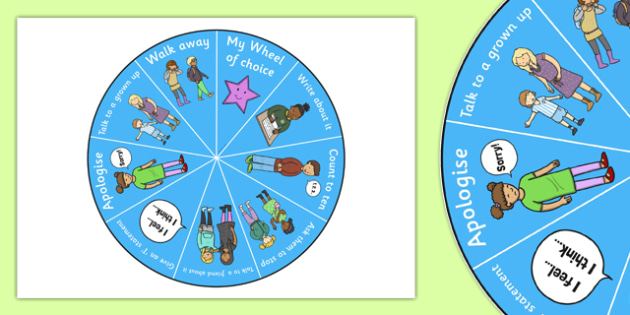 The Wheel of Choice - wheel of choice, choice wheel, conflict solution wheel, how to react wheel, what to do wheel, behaviour management wheel, choices