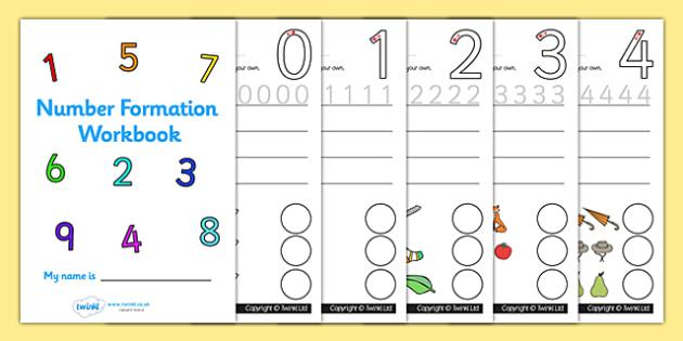 Number Formation Workbook (0-9) - Handwriting, number formation, number writing practice, workbook, foundation, numbers, foundation stage numeracy, writing, learning to write, numeracy, numbers, number formation, 0-9