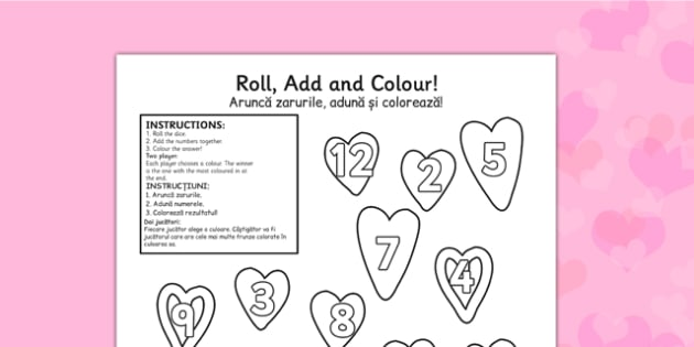 Valentine's Day Colour And Roll Worksheet Romanian Translation - romanian, valentines day, colour