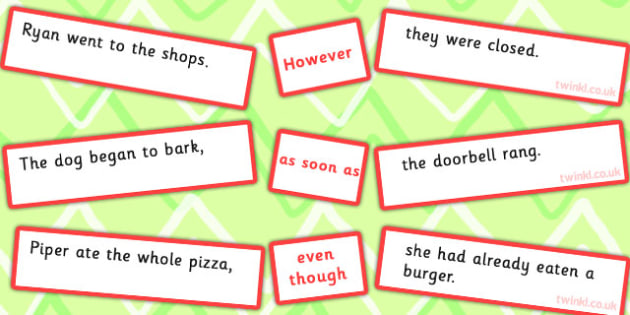 Sentence Matching Game However Soon as Even though