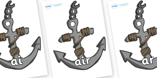 Phase 3 Phonemes on Anchors - Phonemes, phoneme, Phase 3, Phase three, Foundation, Literacy, Letters and Sounds, DfES, display