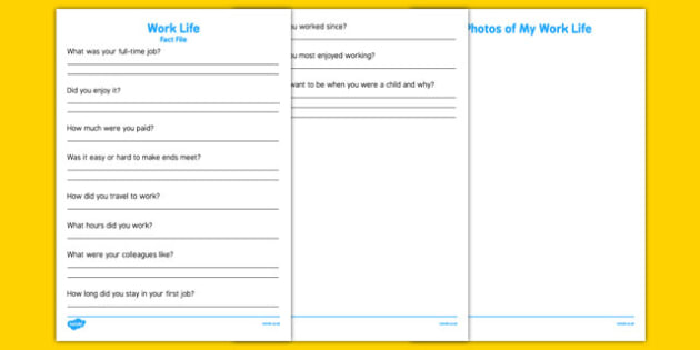 Elderly Care Life History Book Work Life Fact File - Elderly, Reminiscence, Care Homes, Life History Books