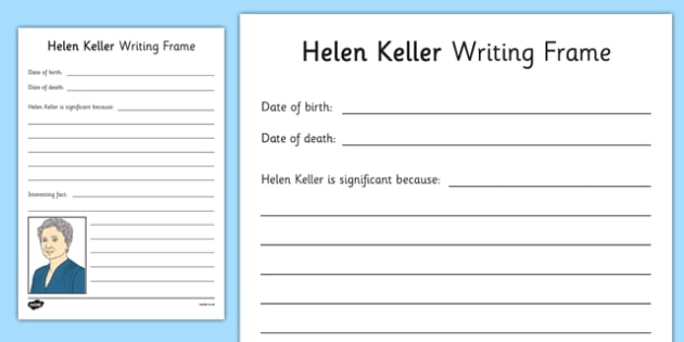 Helen Keller Writing Frame - helen keller, writing frame, significant individual, significant