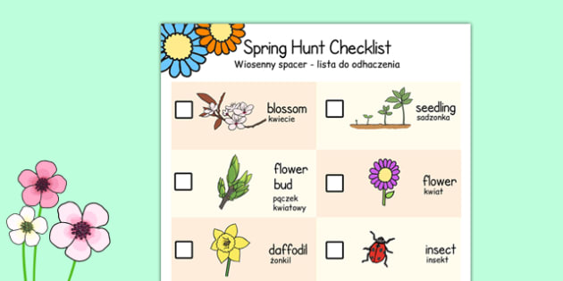 Spring Hunt Checklist Polish Translation - polish, spring, seasons, easter, hunt, easter hunt, objects hunt, can you see?, spring sensory walk checklist, walk checklist, spring walk checklist, spring hunt, spring search