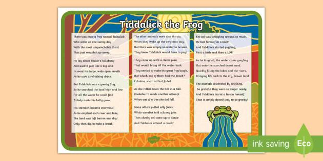 Tiddalick the Frog Poem A4 Display Poster - Australian Aboriginal Dreamtime Stories, tiddalick the frog poem, poetry, poem, tiddalick the frog,