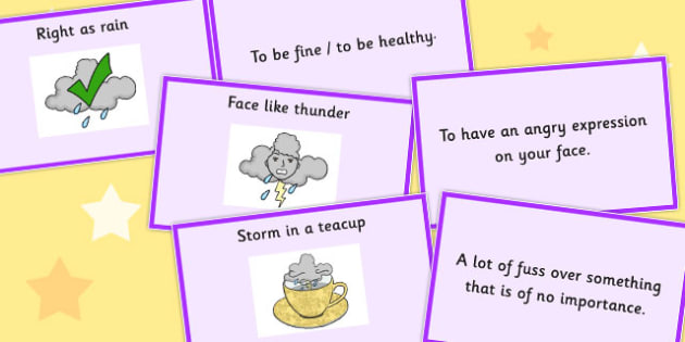 Weather Idioms Matching Cards - weather, idioms, matching, cards