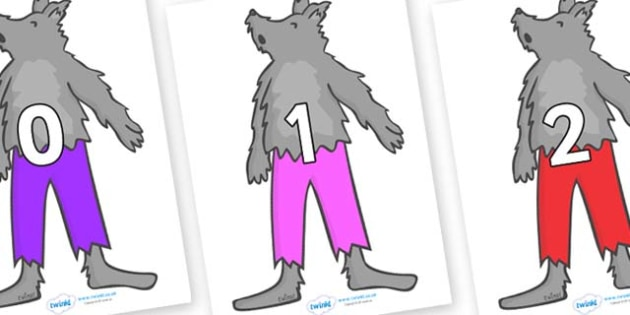 Numbers 0-31 on Werewolf - 0-31, foundation stage numeracy, Number recognition, Number flashcards, counting, number frieze, Display numbers, number posters