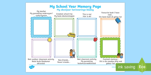 School Year Memory Write Up English/Afrikaans - School Year Memory Write Up - writing template, school memories, tempelte, writting, templet