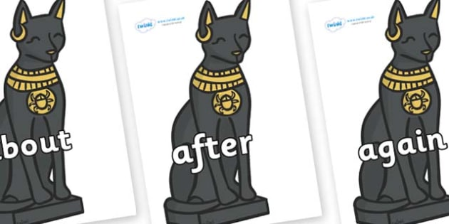 KS1 Keywords on Egyptian Cats - KS1, CLL, Communication language and literacy, Display, Key words, high frequency words, foundation stage literacy, DfES Letters and Sounds, Letters and Sounds, spelling