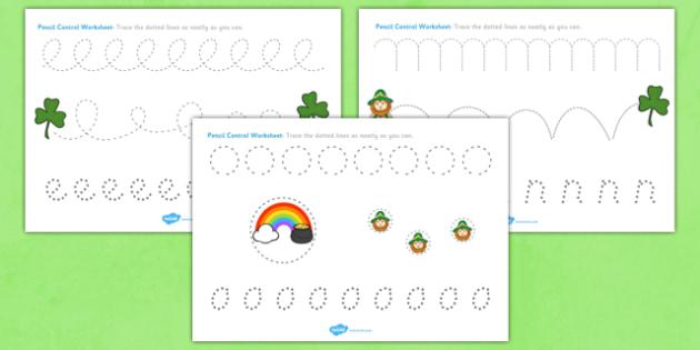 St Patricks Day Pencil Control Worksheets - st patricks, sheets