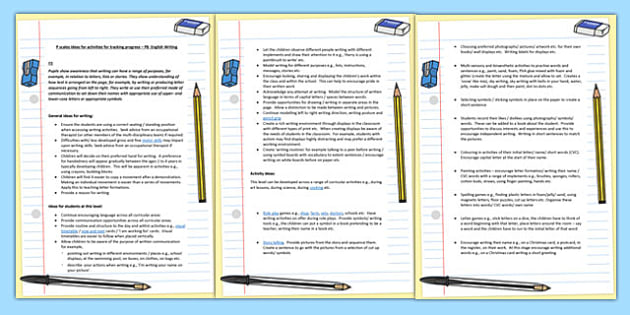 P Scales Ideas Activities for Tracking Progress English Writing