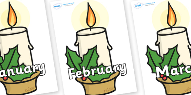 Months of the Year on Christmas Candle - Months of the Year, Months poster, Months display, display, poster, frieze, Months, month, January, February, March, April, May, June, July, August, September