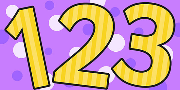 Yellow Striped Themed A4 Display Numbers - display, numbers, a4