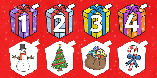 Make Your Own A4 Advent Presents 1-25 - advent, presents, 25