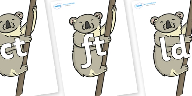 Final Letter Blends on Koalas - Final Letters, final letter, letter blend, letter blends, consonant, consonants, digraph, trigraph, literacy, alphabet, letters, foundation stage literacy