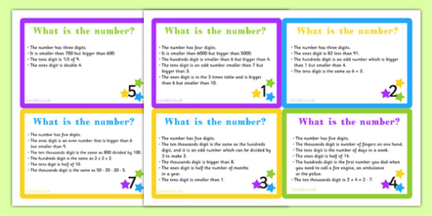 Place Value Riddle Challenge Cards - place value, card, challenge